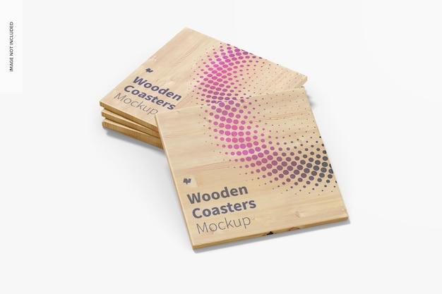 Mockup-set van houten onderzetters