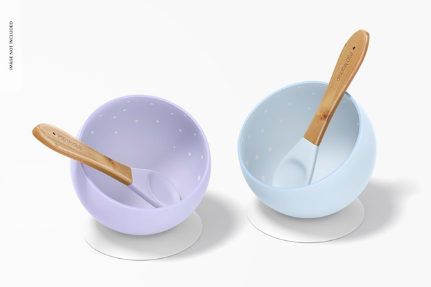 Mockup-set voor babyschaaltjes van siliconen
