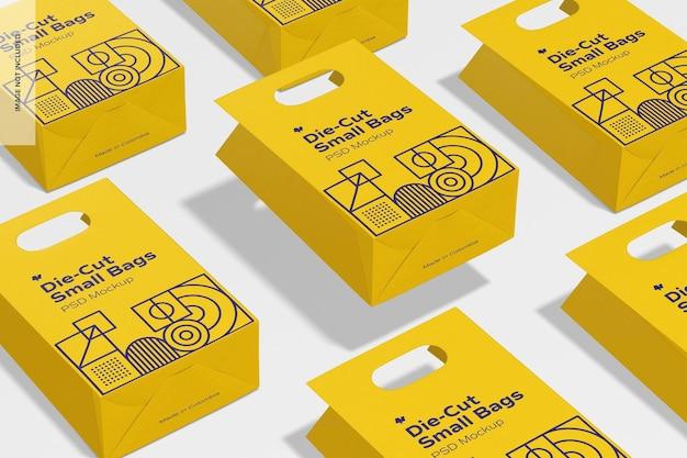 Mockup-set voor gestanste kleine papieren zakjes