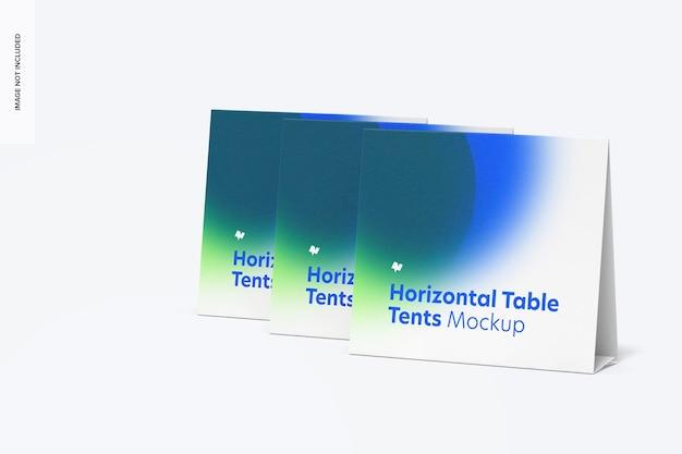 Mockup-set voor horizontale tafeltentkaarten