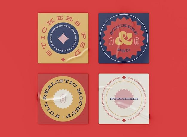 Mockup-set voor stickers
