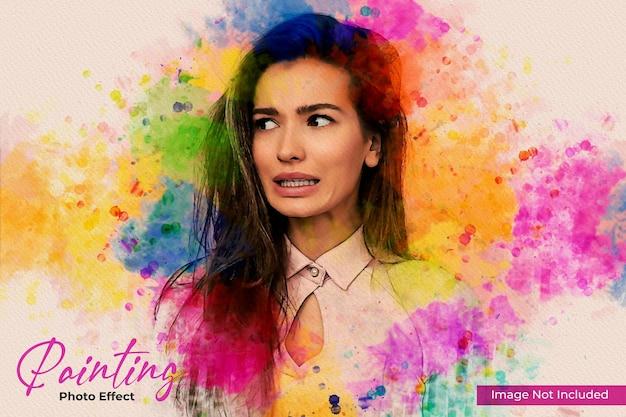 Mockup-sjabloon voor kleurrijk schilderij met foto-effect