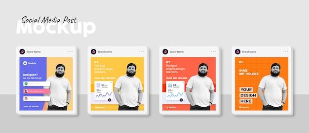 Mockup-sjabloon voor sociale media vierkante berichten