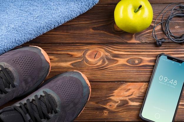 Mockup de smartphone con concepto de fitness