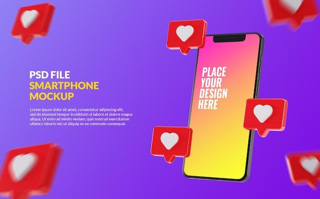 Mockup-smartphone met instagram-likes op bubble-chat