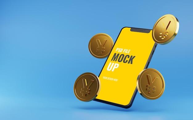 Mockup-smartphone met zwevende gouden yen-munten