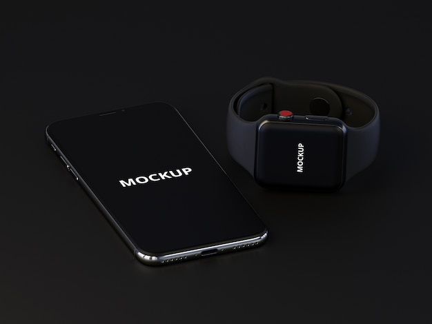 Mockup de smartphone y smartwatch