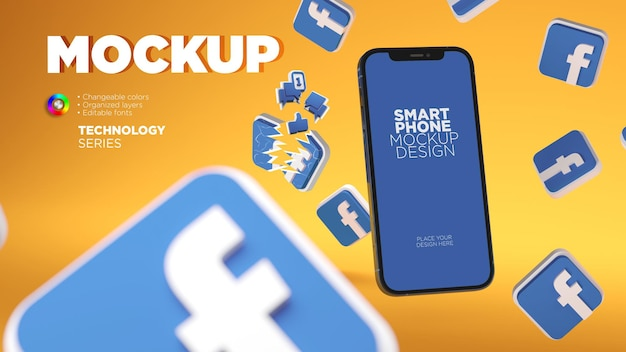 Mockup smartphonescherm met 3d facebook-pictogrammen