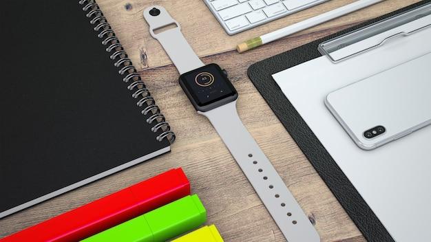 Mockup de smartwatch y materiales de oficina