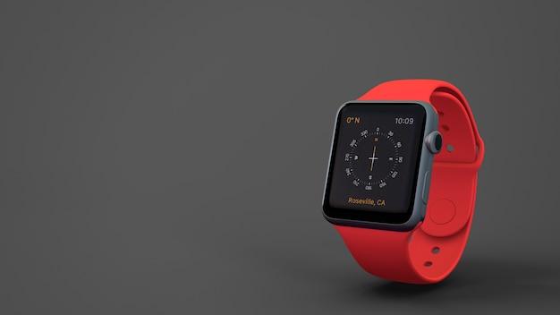 Mockup de smartwatch roja