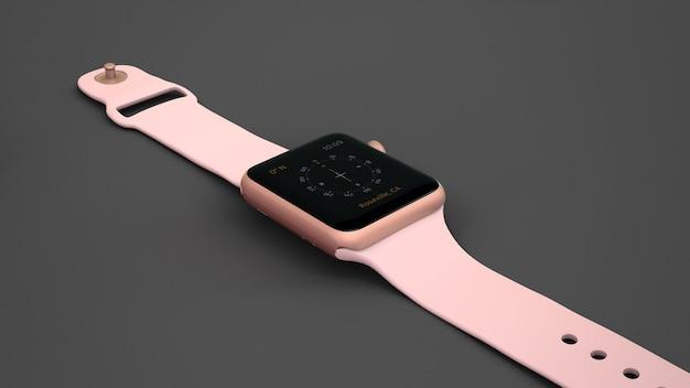 Mockup de smartwatch rosa