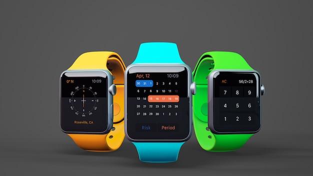 Mockup de smartwatches en tres colores