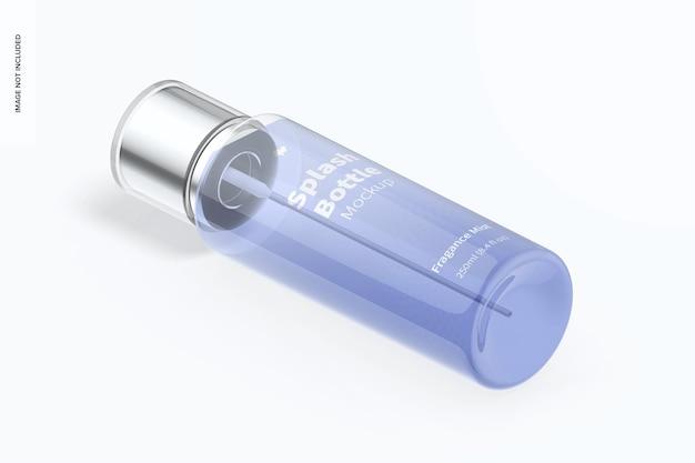 Mockup splash-fles van 250 ml, isometrische linkeraanzicht