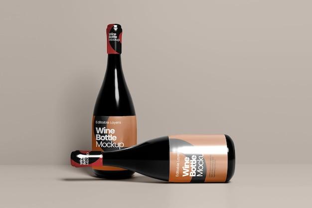 Mockup-standaard voor meerdere wijnflessen en slaapweergave