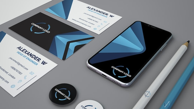 Mockup stationery con smartphone