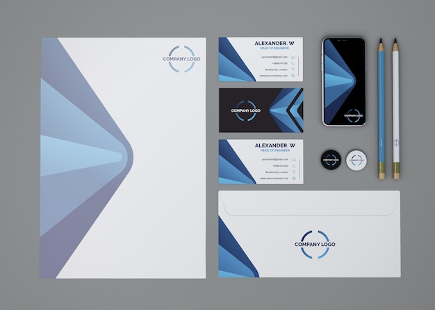 Mockup stationery de vista superior