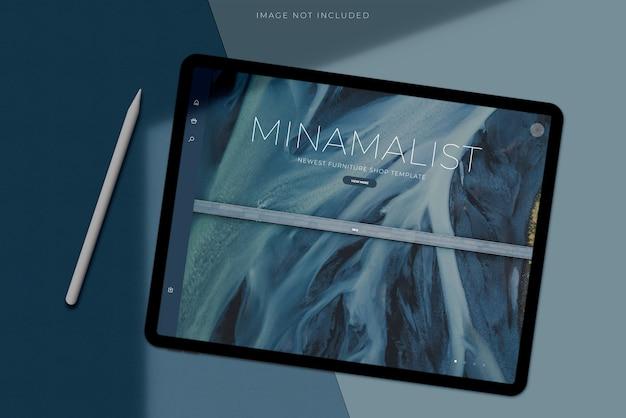 Mockup tablet creatore di scene con sovrapposizione di ombre