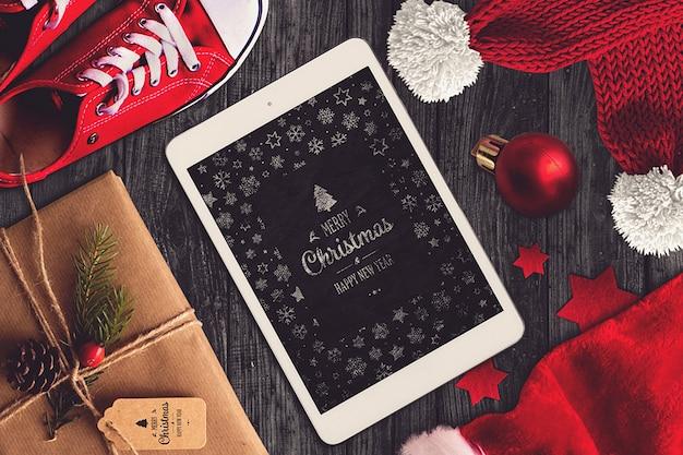 Mockup de tableta de navidad