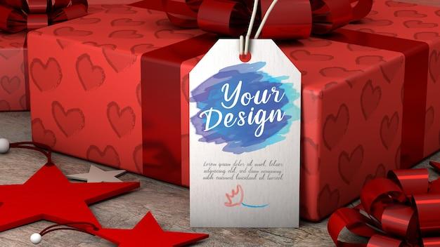 Mockup-tag cadeau met rechthoekige vorm van wit papier