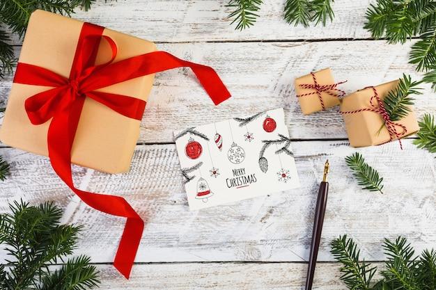 Mockup de tarjeta con concepto de navidad