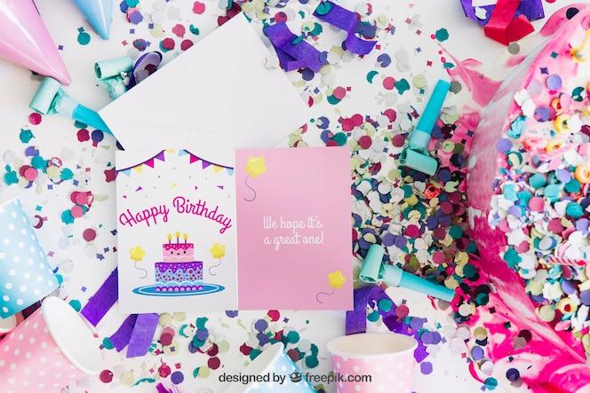 Mockup de tarjeta con diseño de cumpleaños
