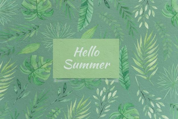 Mockup de tarjeta de hello summer con concepto de naturaleza