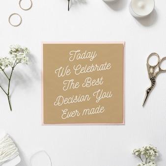 Mockup de tarjeta de invitación de boda