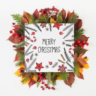 Mockup de tarjeta de navidad cuadrada