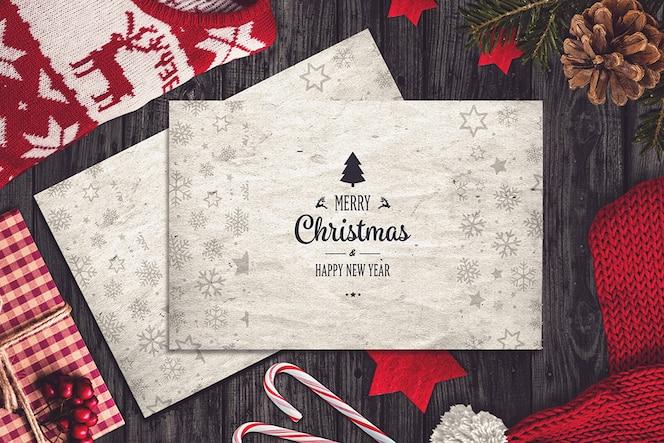 Mockup de tarjeta de navidad