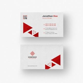 Mockup de tarjeta de negocios con formas triangulares
