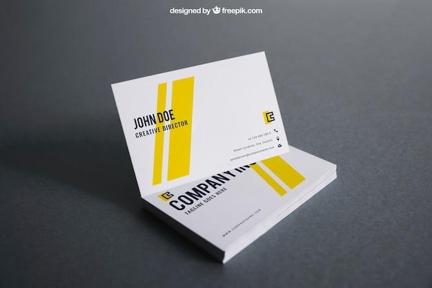Mockup de tarjeta de visita blanca y amarilla