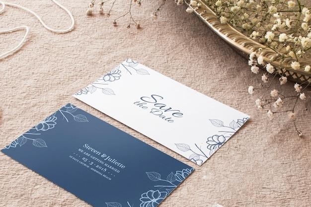 Mockup de tarjetas de boda