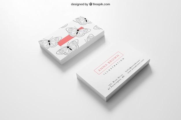 Mockup de tarjetas de visita de dos montones