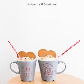 Mockup de taza de san valentín