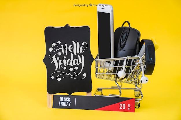 Mockup tecnológico de black friday