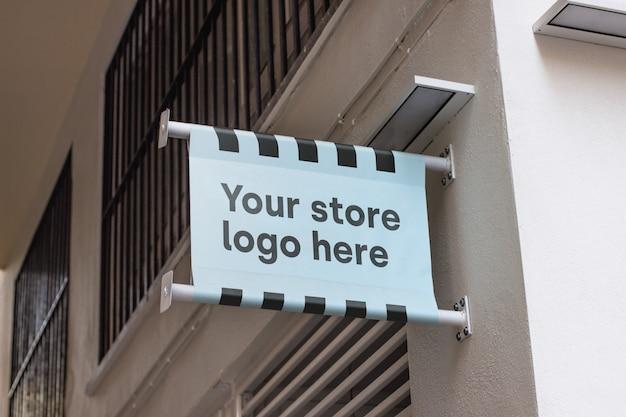 Mockup teken buiten winkel