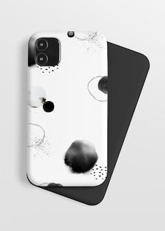 Mockup telefoonhoesje met inkt penseelpatroon