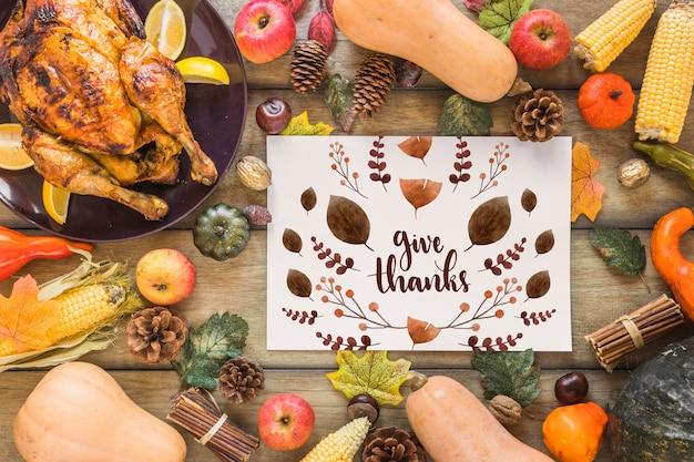 Mockup de thanksgiving con cover o papel