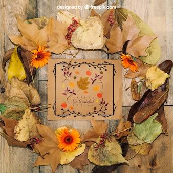 Mockup de thanksgiving con hojas