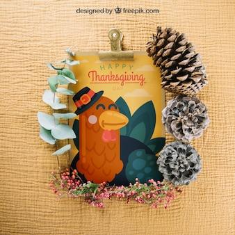 Mockup de thanksgiving con portapapeles