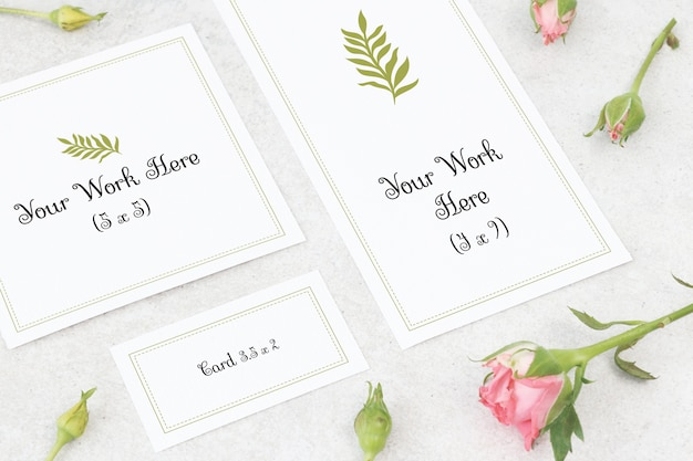 Mockup trouwkaart, dank u kaart en naam kaart