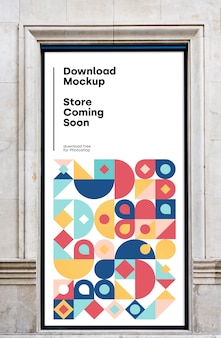 Mockup uithangbord winkel binnenkort