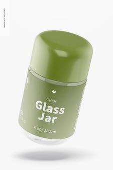 Mockup van 180 ml doorzichtige glazen pot, vallend
