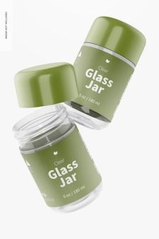 Mockup van 180 ml doorzichtige glazen potten, drijvend