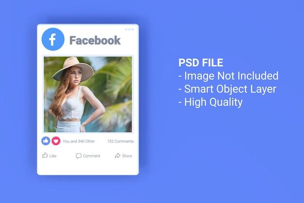 Mockup van 3d facebook-fotobericht op sociale media