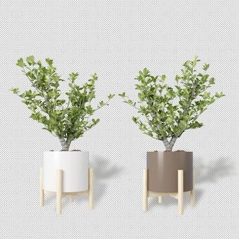 Mockup van 3d-gerenderde planten in potten