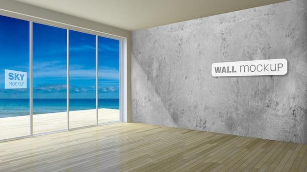 Mockup van 3d-rendering eenvoudige stijl aan zee kamer