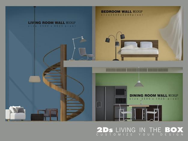 Mockup van 3d-rendering immage van levende doos