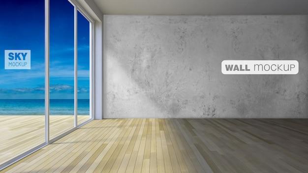 Mockup van 3d's interieur polygoon muur