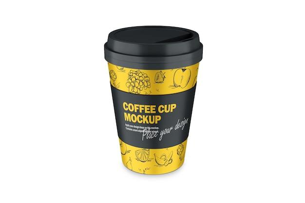 Mockup van 3d termo cup met plastic dop